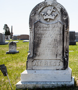 William Ramer, husband of Hannah B. Ramer, born Oct 12(?), 1836, died July 24, 1886 ...