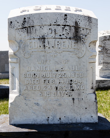Edna Irene (nee Luckenbill) Saul, July 25, 1869 - Feb 14, 1894. Her parents were Mr. Luckenbill and Anna Reber. Her husband was Daniel L. Saul. Her children were Otto Owen, Ray Daniel, Anna and Edna Irene Saul.