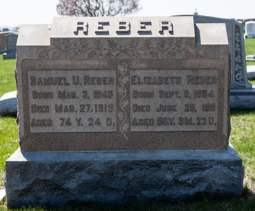 Samuel M. U. Reber, 1845 - 1919, son of Jacob Reber and Elizabeth Umbenhauer. His wife: Elizabeth Reber (nee Keim), 1854 - 1911, daugther of Elias Keim and Amanda Hartman. Their children were Annie Susannah, Jacob Sassaman, Thomas Samuel, Elizabeth A, Alvin A., and Robert J. Reber.