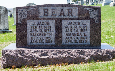 J. Jacob Bear, 1813 - 1872 and Elizabeth 1821 - 1898. Also, Jacob L. Bear 1859 - 1938 and Amanda E. 1867 - 1930.