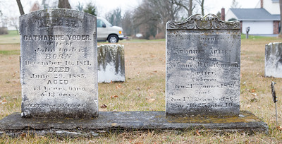 Stone 1: Catharine Yoder, wife of John Yoder, Dec. 16, 1811 - June 29, 1885. Stone 2: Johannes Yoder (Joder) ….. 21 January 1850 (1859?) … 1 December 1862 …
