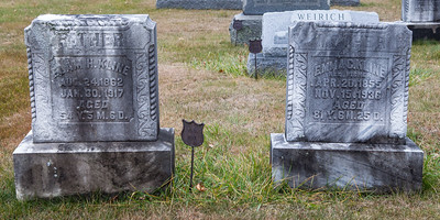 Stone 1: Elam H. Kline, Aug 24, 1862 - Jan. 30, 1917. Stone 2: Emma C. Kline, nee Fisher, Apr. 20, 1855 - Nov. 15, 1936.