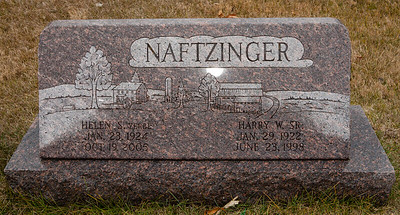 Helen S. Zerbe, Jan 23, 1924 - Oct 19, 2005.  Harry W. Sr. Naftzinger, Jan 29, 1922 - June 23, 1998.