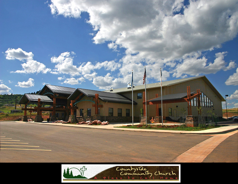 """Countryside Community Church began as a result of 15 adults who met in the Spring of 1993.  This core group of Christians began a new church in the Spearfish area.  They were drawn to the ministry by a strong desire to provide something uniquely relevant to unchurched people in the Northern Black Hills.  <br /> <br /> Countryside Community Church officially began on September 12, 1993.  <br /> <br /> In 2006, Countryside moved to its new location --  shown here.   In 2007, member Dick Hicks conceived the  notion of creating a piece of art that would add to the welcoming spirit of the church -- and its """"journey of faith.""""  Thus was born the """"Journeyer"""" sculpture, chronicled here."""