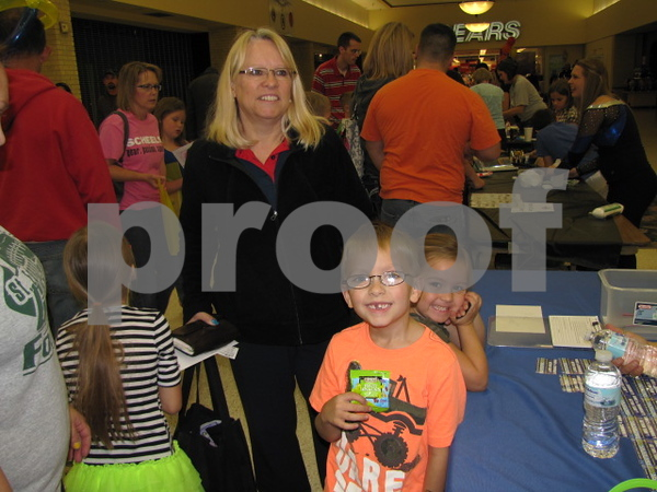 Karen Bond with her grandchildren Kayleb and Karly Andrews.