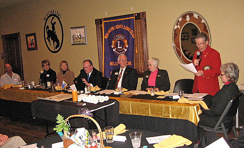 Assembled at the head table for the Charter Banquet of the Northern Lights Lions Club on Saturday (1/23/10) are (l-to-r):  Dick Banks, Northern Lights president Bev Banks, Sue Morris, master of ceremonies Bob Morris, keynote speaker Bob Drabek, Bev Drabek, District Governor Doug Scheller, and Donna Scheller.