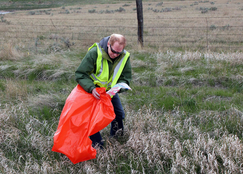 Lion president Brian Kline working in cognito  as part of the Belle Fourche Lions Club Highway 34 Clean-Up crew.