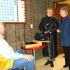 <I><B>LIONS HOST PANCAKE BREAKFAST!</B></I>  The 2013 Lions Pancake Breakfast was held at the Moose Lodge on Sunday, March 24.  Lion Swede Wennberg greets some of the early customers.   Thanks to Pancake Breakfast Co-Chairman Ron Ensz  and Publicity Chairman emeritus Bill Kunerth for taking these photos at the event!