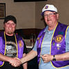 "Lion president Rik Bartels (left) congratulates Lion John Cooper on April 11, 2013 after presenting him with a <i><b>Membership Advancement Key</i></b> pin for ""successfully opening the door of Lionism"" to at least two individuals.  Congratulations Lion Cooper!"
