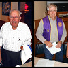 While there was lots of business on the table for our September 2012 meeting of the Belle Fourche Lions Club, a key moment was the recognition of two fellow Lions for their tenure in Lions, International.  In these photos, Lion President Rick Bartels presents certificates to two of our own.  At left:  Chuck Livingston was recognized for 45 years as a Lion -- and please note that he's had a perfect attendance through the years!  That, friends, is no small accomplishment!  At right, Lion Pat Deering is recognized for 15 years membership.  Our hats off to these gents!
