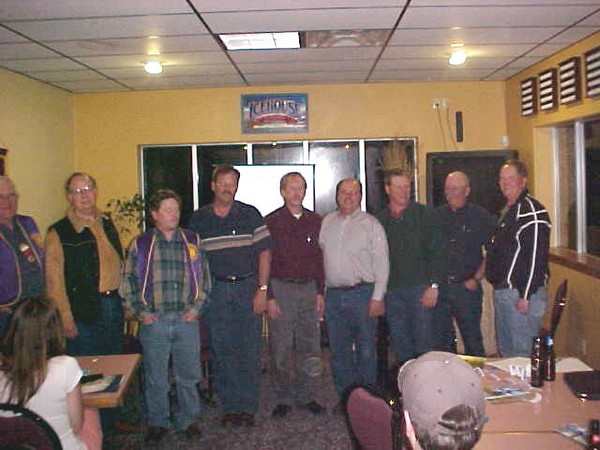 Previous Lions officers and directors (left-to-right) Rich Drabek, Treasurer; Eric Beals; Rik Bartels, Secretary; Dale Schmautz; Brian Kline; Ron Ensz, Second Vice President; Scott Mikkelson; Tim Cleveland; and John Cooper.