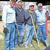 "A window of ""good weather"" opportunity within a blustery springtime!  Lions Leo Orme, Rich Drabek, Ron Ensz, and Mike Reade' take a brief rest while helping install a new disc golf course along the Riverwalk in Belle Fourche on May 3, 2011."