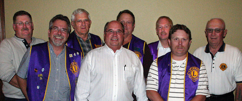 Officers and Directors of the Belle Fourche Lions Club for 2010-11.  Left-to-right are: Rick Walton, Director; Del Neumeister, Director; Rich Drabek, Treasurer; Ron Ensz, President; John Cooper, Tail Twister; Brian Kline, 1st Vice President; Rik Bartels, Secretary; and Gerald Keil, Lion Tamer.  Not shown are Directors Monte Raber and Steve Smith, and Tim Cleveland, Tail Twister.