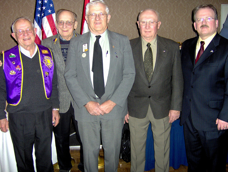 "Shown in this shot, left to right, are Lions Al Shaw, Bill Kunerth, Rich Drabek, Gerald Keil, and Robert Morris, Jr.  They were attendees of a ""recent"" State Lions Convention.            <b>Return to <i> <a href=""http://www.bellefourchelions.org"">Belle Fourche Lions</a> web site</i></b>"