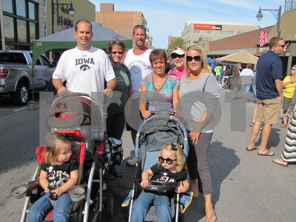 The Keigher family, Justin, Jalon, Scott, Tami, Lettie Nissen (pink), Jaci, and Avah and Ellah in front.