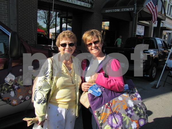 Betty Hallberg and Karen Heun found these brightly colored freezer bags to be a useful item to purchase at Market on Central.