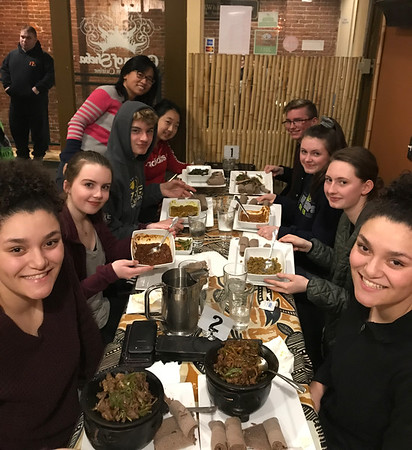 Multicultural Club at Ethiopian Restaurant 1-25-18