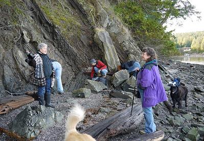 Checking the beaches for Styrofoam