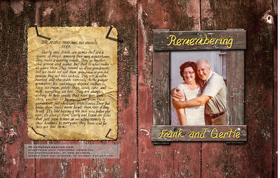 COVER FEATURES: This album cover was designed to complement the lifetime-farmer-couple. The background is a from an image I took of real barn wood. The wood frame was created from another barn wood image, giving attention to many details, including placing 'nails' in the corners to 'attach' it to the 'barn wall'.  The back cover (left side) is the original handwritten text of a close family friend who beautifully expressed the couple's personalities. The original scanned text was on plain paper. I wanted it to look like it was on paper, nailed to the barn wall, aged and weatherworn. Creating the aged paper was a many step process. We also took a drive to photograph real nails protruding from wood sheds to 'attach' it to the 'wood' on the back cover. The original handwritten text was overlaid onto this creation for authenticity.