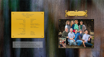 COVER FEATURES: The family reunion was a fun colorful day. The backgrounds of individual page spreads reflect this. So I wanted a colorful, yet very dignified cover. I created this 'wood texture' with subdued colors . The book title was 'engraving on a fancy brass plate'. The front image was 'attached' with 'brass tacks'.   The back cover lists the family members names, in order of birth, blood relatives standing out more than married-in relatives. These names were also 'engraved on a brass plate, attached with brass tacks'.   A truly beautiful dignified design!