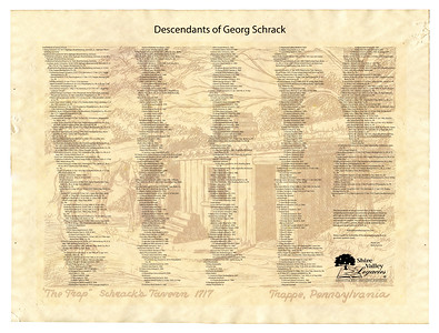"This descendant chart is placed on 'aged background paper' approx 35"" x 26"". Since it is for the Schrack family, I chose to include an image of the log cabin that is said to have belonged to the immigrant Schrack, called Schrack's Tavern or The Trap (Trappe), in Trappe, PA."