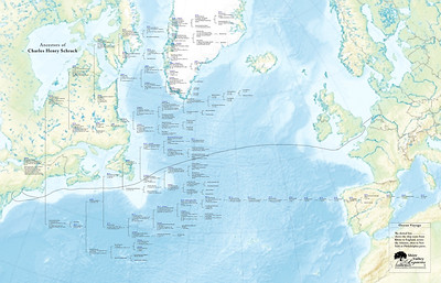 "This is the family tree of Charles H Schrack, printed over a map of the Atlantic Ocean, showing the ship route that his ancestors took from Europe to the ports of Philadelphia and New York. It was printed at 42"" x 27""."