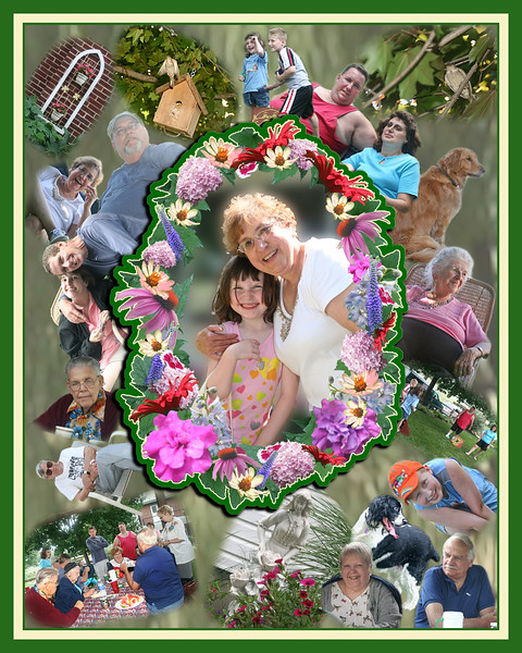 This family collage was designed with the featured person in center with her grand-daughter. She loved her family and garden. What better way to honor her immaculate garden than to custom design a wreath of flowers using actual photographs from her gardens?