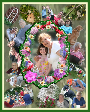 GET WELL CHEER: This family collage was designed with the featured person in center with her grand-daughter. She loved her family and garden. What better way cheer her in a time of need than to custom design a wreath of flowers using actual photographs from her own gardens, along with family images from a recent reunion?