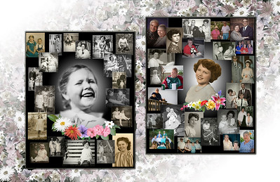 HONOR AN INDIVIDUAL: To honor this cherished mother's life, two large collages were custom designed to be displayed at her memorial; one depicting her childhood, and a complimentary one depicting her adult life.