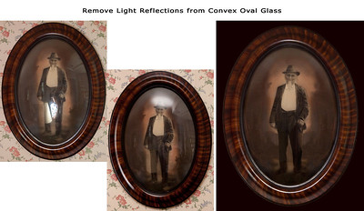 This very old image was in an oval frame with a convex piece of glass. The backing did not allow the image to be removed for scanning. A dozen shots of the image with all different lighting sources were taken, including no man-made lighting. After comparing all the images, the two that were chose to start from had lighting issues at opposite ends. These images were combined to take the best of each. However, there were still many areas needing meticulous attention to restoration; for example, even when the lamp was turned off, the lamp shade remains clearly visible over his right leg, also all images show the stair way reflecting on the right side of the glass and the stair ceiling above that, and the window in his right arm. There were many other small things that could not be repaired from other images, but needed removal by hand-creating restoration from scratch. Also, the wall paper was removed and changed to a dark color that complimented the image without distraction. Do you have an image impossible to scan, difficult to photograph? If so, please ask us for suggestions on digitizing it. We're here to help.