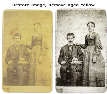 I scanned this very old image from an ordinary quality photocopy of a very very yellowed very old image. Much work was done to restore the color, bring out details in the faces and clothing, and to better contrast the background from the subject. After removing the yellow, the resulting image revealed many scratches and spots that also needed restoration. The goal was to 'restore' the image, without removing the 'old' look and feel, so some of the age marks and tattered areas were allowed to remain.