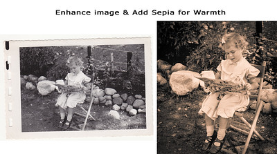 A relative knew cute when she saw it, and thankfully captured it for future generations to enjoy!  We added sepia to warm up the image. Cropping in, helps the viewer to feel a little more eye level with the girl while removing all the unnecessary distractions of stones, fence and bush.