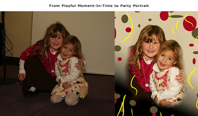 Children this age, in the middle of playing, are hard to get to sit still and look natural; The solution is to photograph many moments, pick the best, then edit: In this case, hair was fixed, lighting was increased, and a playful party theme was graphically added to remove unwanted objects around them.