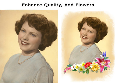 This old photo was hand-colored years ago. I applied some sharpening, color enhancements, brightening of eyes and teeth. For many years, this beautiful woman, was known for her love of making flower arrangements. So I added a spray of flowers, some of which were taken at her home. I also added the graphic edge to the existing background.