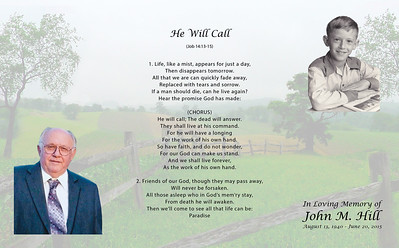 The unfolded outside of the Memorial Biography for John M. Hill (1940 - 2015).  The 'Barndoor Style' allows for continuous background of rolling hills when open and when folded.