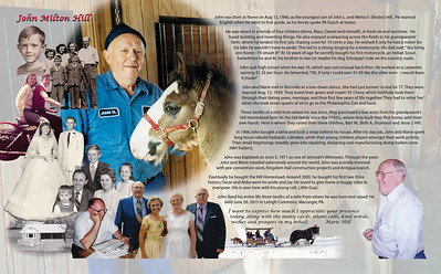 The inside spread of the Memorial Biography for John M. Hill (1940 - 2015).  Background image fills the entire spread. Faces of John and his colt maintain photo quality, while the rest of the image is softened to allow for the overlay of his life biography and life event images.   Life biography text hugs the contour of the images.  Life event images are displayed in chronological order.