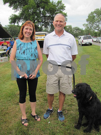 Jane and Steve Bell and their dog, Tipper, attended the ribbon cutting for the Celebration of Trails.