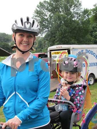 Marie Zaharia and her daughter Naomi are all set to ride.