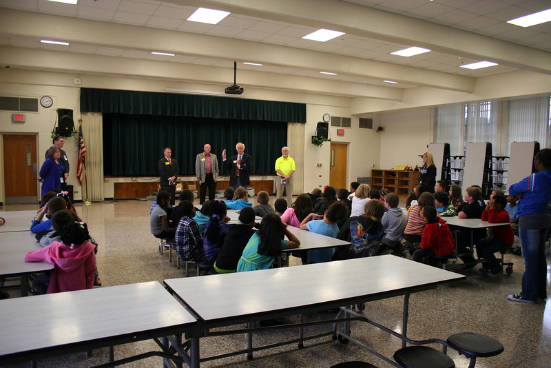 Rotary members talk to Stonegate students.