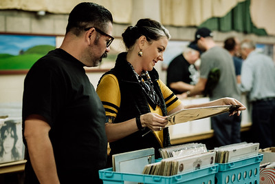 Community members gather for the SLO Record Swap at the San Luis Obispo Guild Hall on Sunday, April 15, 2018.