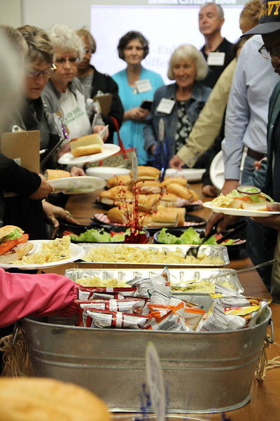 Guests enjoy a catered lunch.