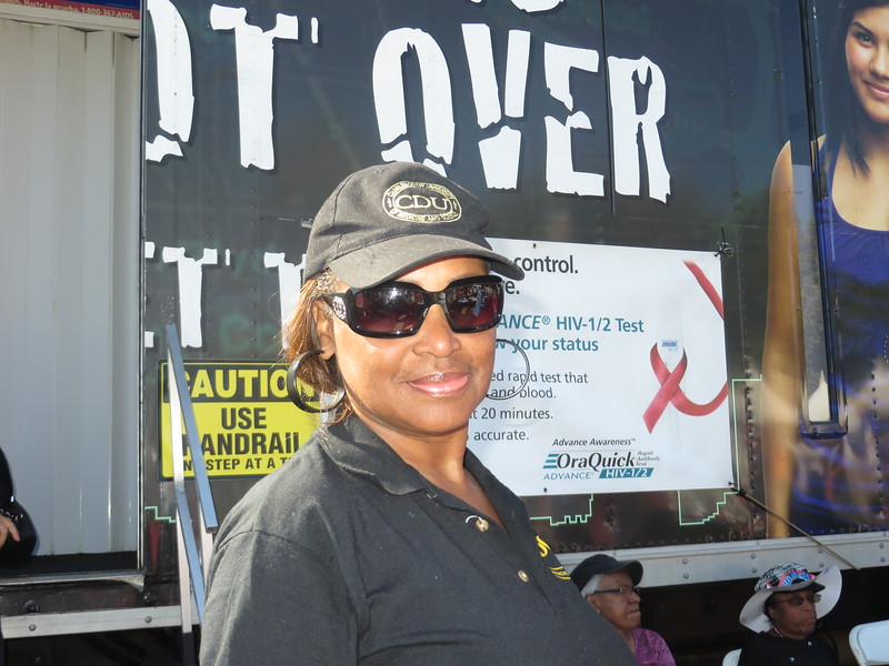 April Miller volunteers at the CDU HIV Mobile Testing Unit. #tasteofsoulla