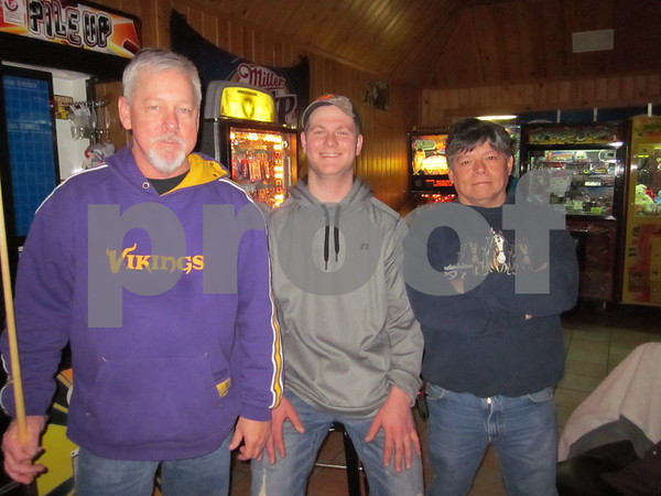 Ken Miller, Keaton Lenning and Troy Hirachita playing Thursday night leagues at Community Pizza.