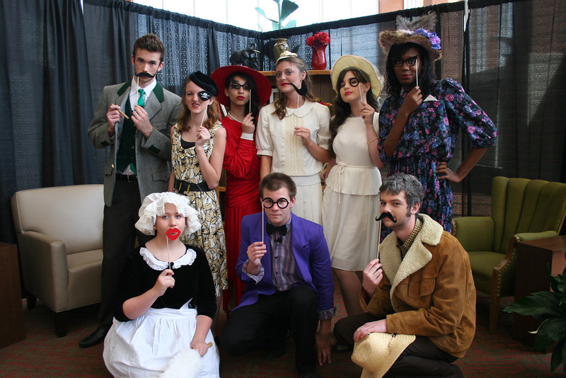 Theatre students dressed as characters from Clue.