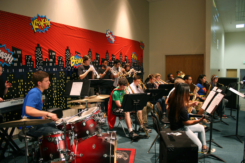 Trinity jazz band performs a piece.