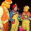 Clowns prepare to entertain guests.