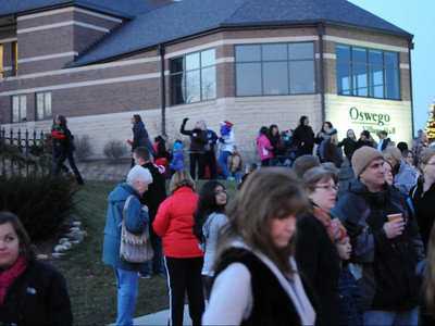 Village of Oswego, Ill inaugural Christmas Tree Lighting Ceremony at the Oswego Village Hall 12-1-13