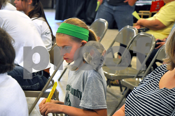 - Messenger photo by Joe Sutter<br /> <br /> Haley Dow, 11, of Fort Dodge, watches the next presenter with her Chinchilla Sparky, after giving a presentation about him and how take care of him for the 4-H pet show at the fair Sunday afternoon.