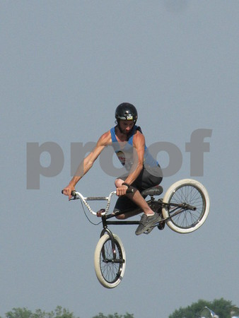 Justin Fenger got air at the BMX stunt show at the Webster County Fair.