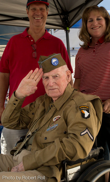 """Ed """"Doc"""" Pepping of the 101st Airborne's Easy Company offers a crisp salute at the 2014 Wings Over Camarillo Air Show.  Pepping was awarded a Bronze Star for his actions as company medic for the storied """"Band of Brothers"""" following the Normandy Invasion in 1944."""